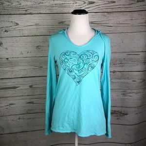 Life Is Good Teal Blue Heart Classic Fit Hoodie